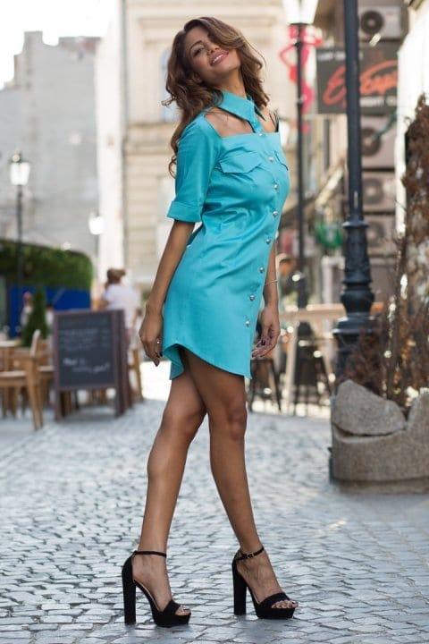Cămașă damă tip rochie Cut turcoaz 2