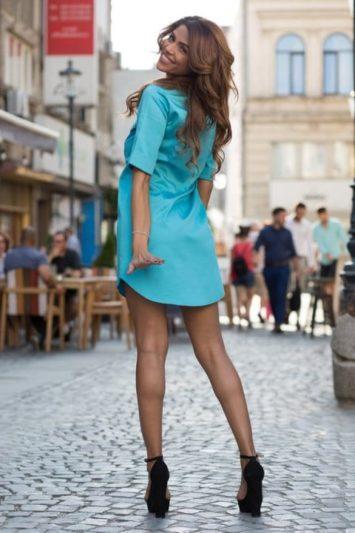 Cămașă damă tip rochie Cut turcoaz 3
