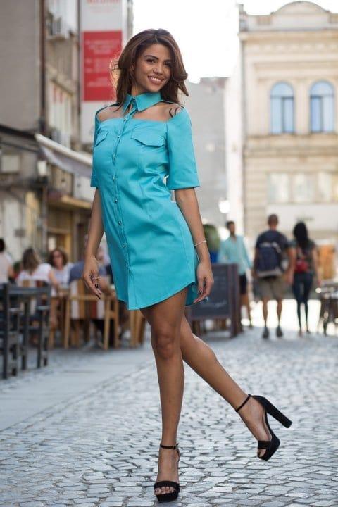 Cămașă damă tip rochie Cut turcoaz 4