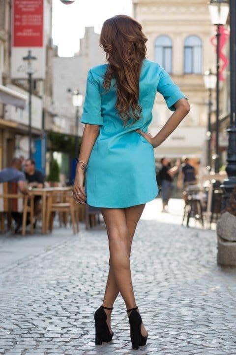 Cămașă damă tip rochie Cut turcoaz