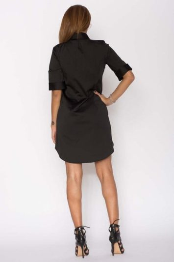 Cămașă dama tip rochie Cut neagră 2