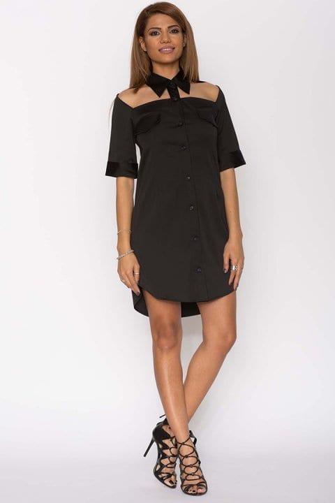 Cămașă dama tip rochie Cut neagră 3
