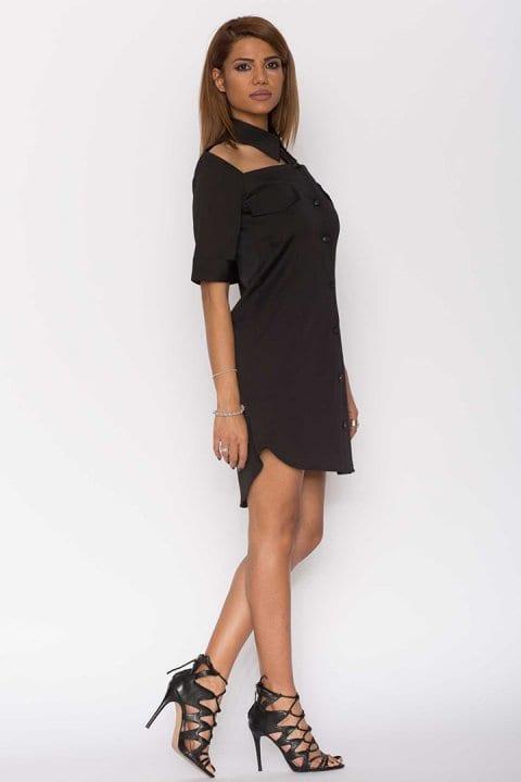 Cămașă dama tip rochie Cut neagră