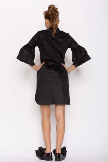 Cămașă damă tip rochie Clopot neagră 3