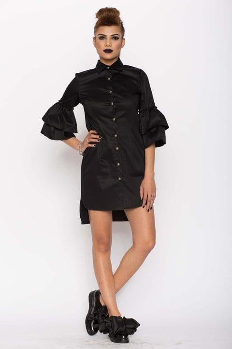 Cămașă damă tip rochie Clopot neagră 4