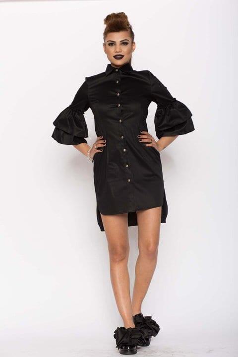 Cămașă damă tip rochie Clopot neagră