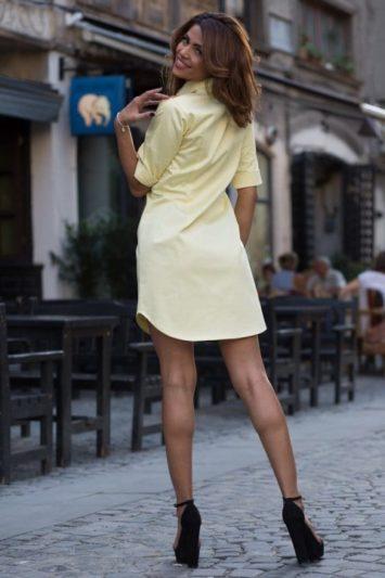 Cămașă damă tip rochie Cut galbenă 2