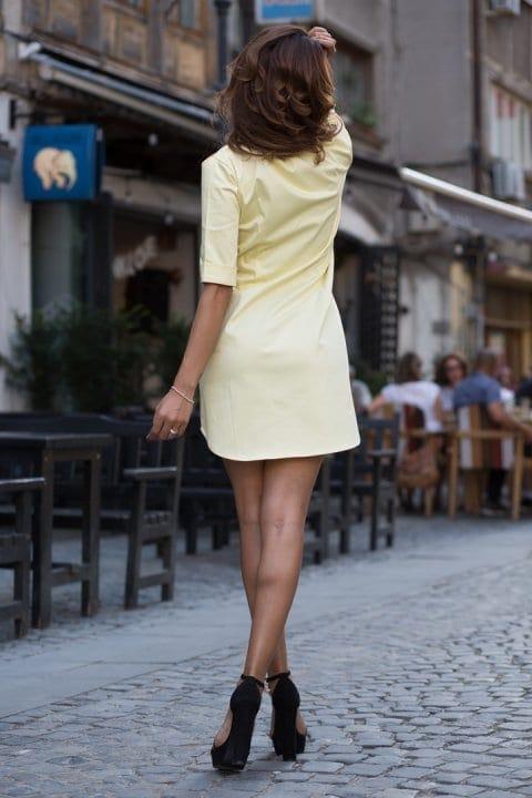 Cămașă damă tip rochie Cut galbenă 3