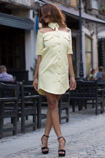 Cămașă damă tip rochie Cut galbenă