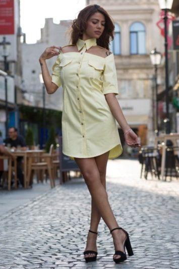 Cămașă damă tip rochie Cut galbenă 4