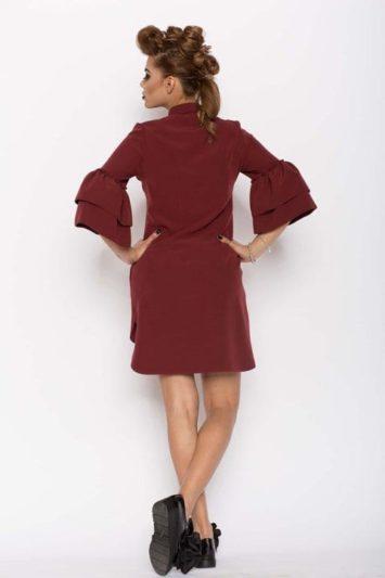 Cămașa damă tip rochie Clopot Bordo 2