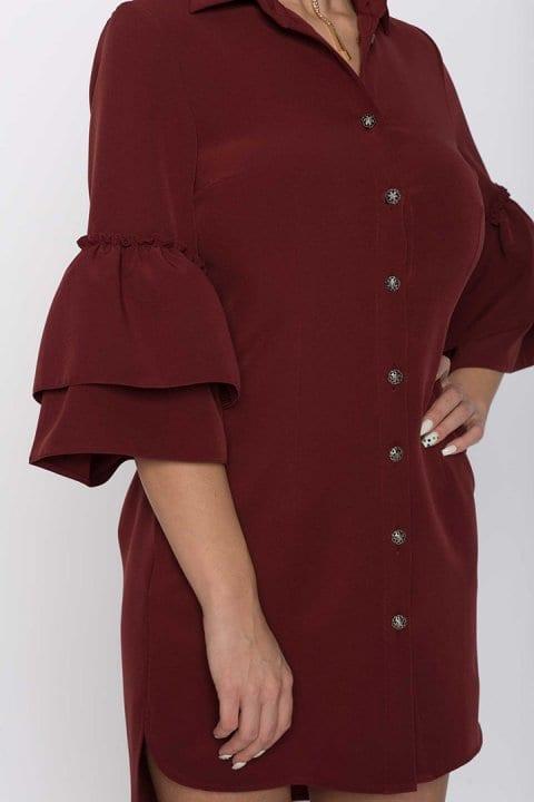 Cămașa damă tip rochie Clopot Bordo 3