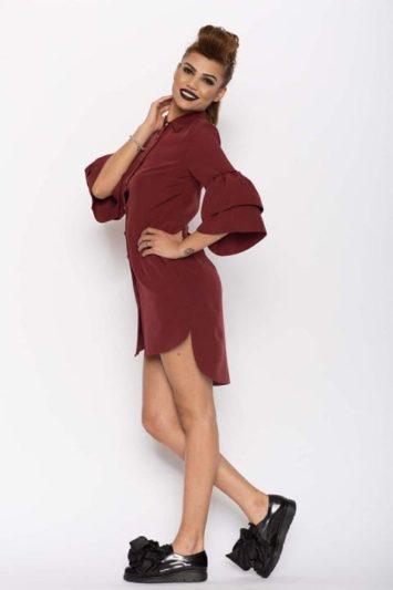 Cămașa damă tip rochie Clopot Bordo