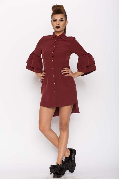 Cămașa damă tip rochie Clopot Bordo 4