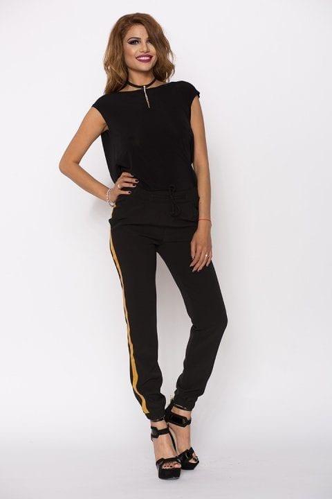 Pantaloni Dama Kylie Negru Cu Banda Aurie 2