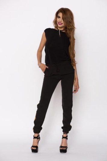 Pantaloni Dama Kylie Negru Cu Banda Aurie 3