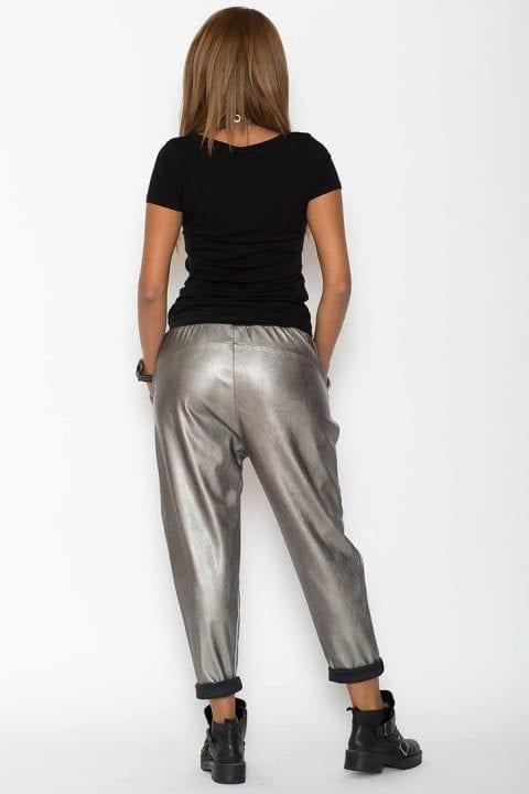 Pantaloni Dama Piele Eco Metalizat Argintii 2