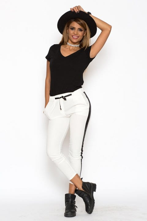 Pantaloni Dama Cu Banda Laterala Albi