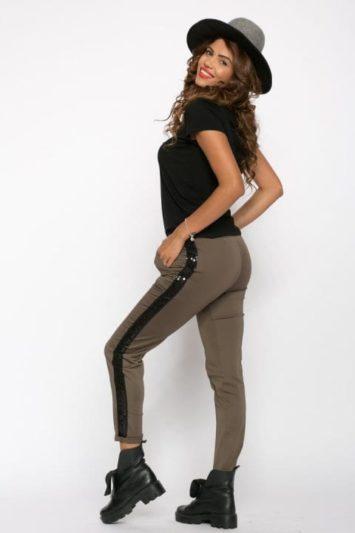 Pantaloni Dama Cu Banda Laterala Kaki 2