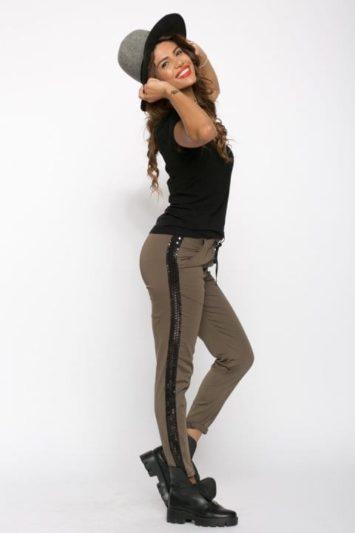 Pantaloni Dama Cu Banda Laterala Kaki 5
