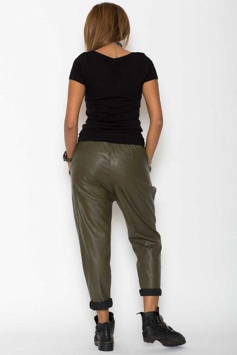 Pantaloni Dama Piele Eco Metalizat Kaki 2