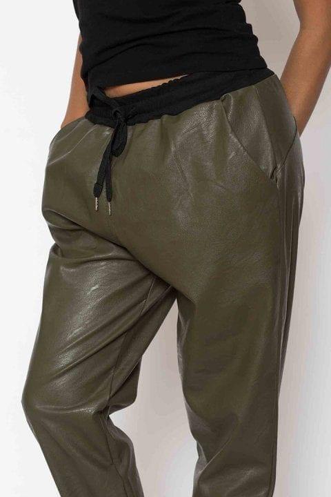 Pantaloni Dama Piele Eco Metalizat Kaki 3