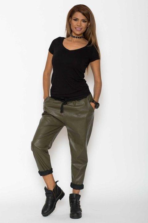 Pantaloni Dama Piele Eco Metalizat Kaki 4
