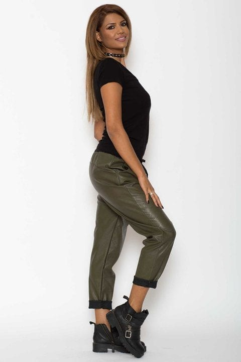 Pantaloni Dama Piele Eco Metalizat Kaki