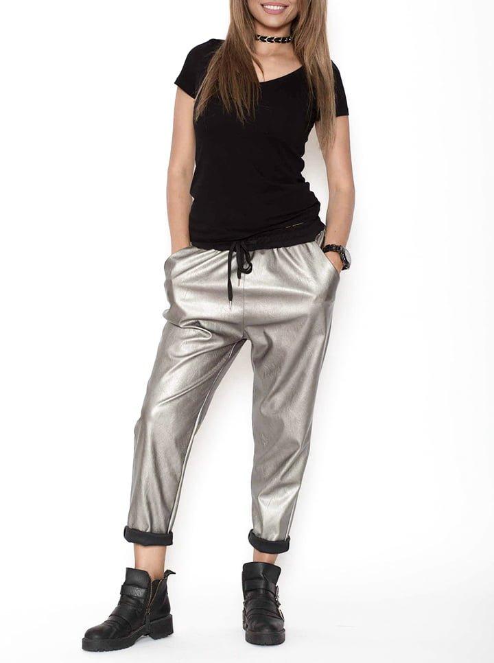 Pantaloni piele ecologica argintiu metalizat