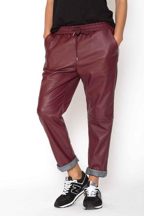 Pantaloni Dama Piele Eco Metalizat Bordo 2