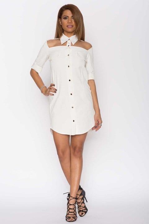 Cămașă dama tip rochie Cut albă 3