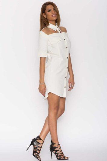 Cămașă dama tip rochie Cut albă