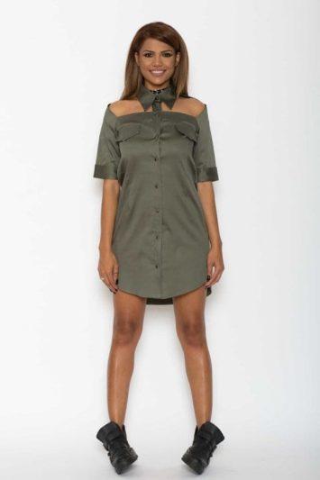 Cămașă dama tip rochie Cut kaki 3