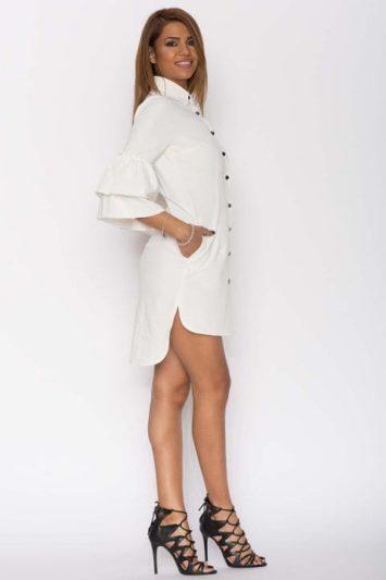 Cămașa dama tip rochie Clopot albă
