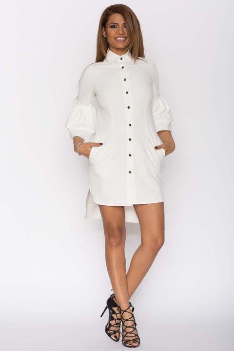 Cămașa dama tip rochie Clopot albă 4