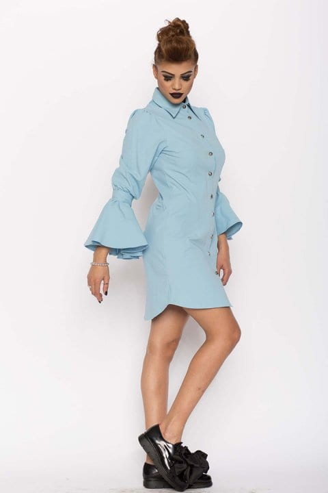 Camasa dama tip rochie Aziza bleu 2