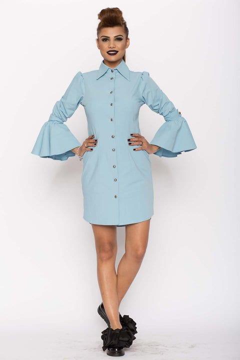 Camasa dama tip rochie Aziza bleu 5