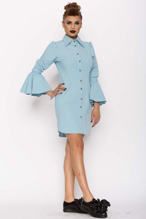 Camasa dama tip rochie Aziza bleu