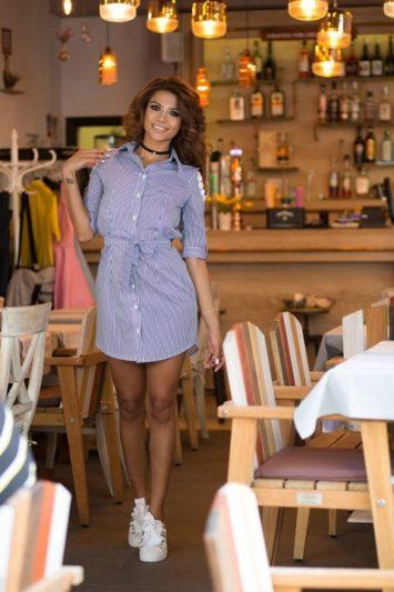 Camasa dama tip rochie in dungi Gloria albastra 2