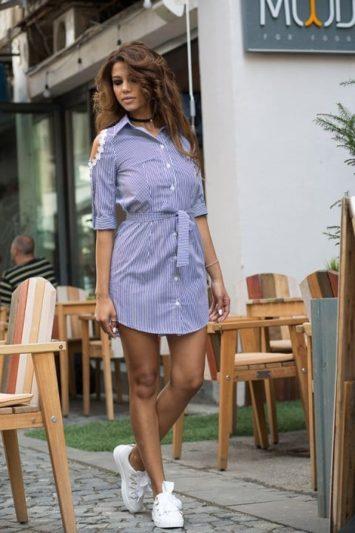 Camasa dama tip rochie in dungi Gloria albastra