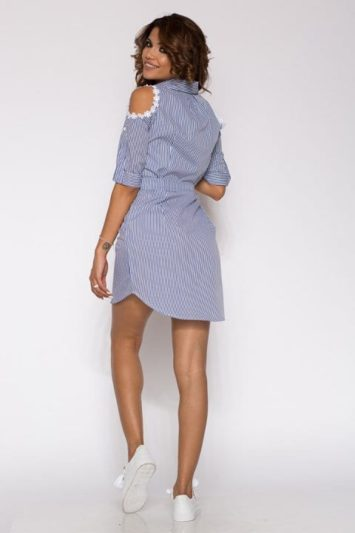Camasa dama tip rochie in dungi Gloria albastra 5