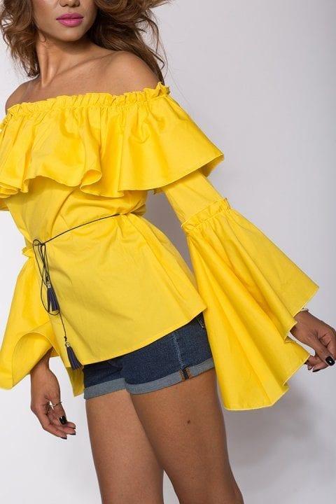 Bluza Dama Cu Volane Kendra Galbena 3