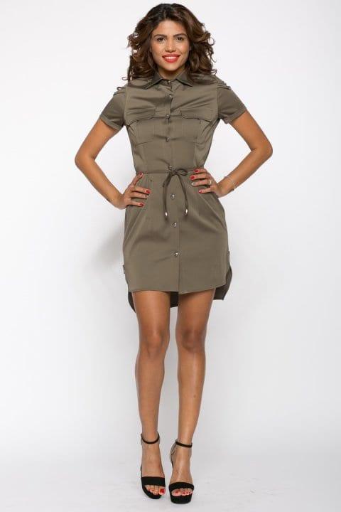 Camasa dama tip rochie Tess kaki cu lanturi 2