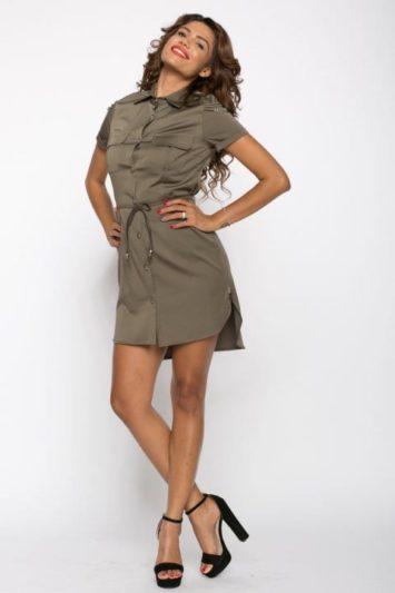 Camasa dama tip rochie Tess kaki cu lanturi 3