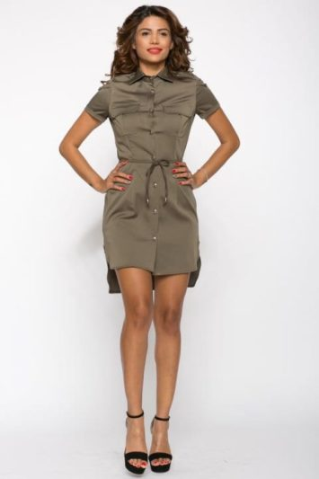 Camasa dama tip rochie Tess kaki cu lanturi
