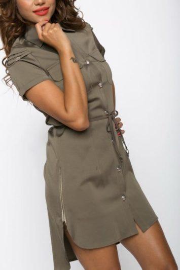 Camasa dama tip rochie Tess kaki cu lanturi 4