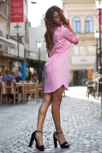 Cămașă dama tip rochie Cut roz 2
