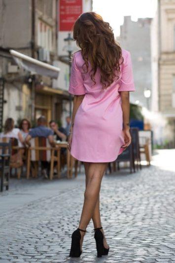 Cămașă dama tip rochie Cut roz 3