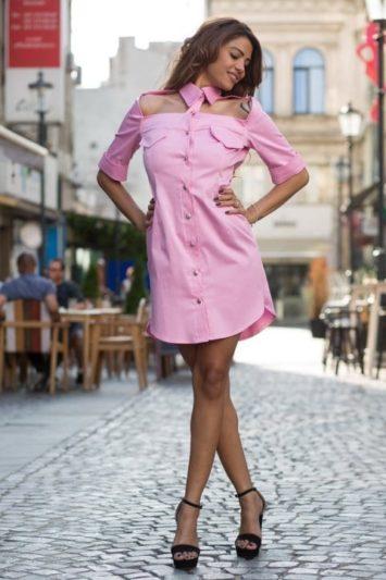 Cămașă dama tip rochie Cut roz