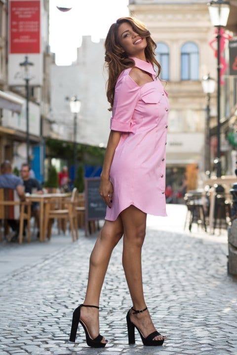 Cămașă dama tip rochie Cut roz 4